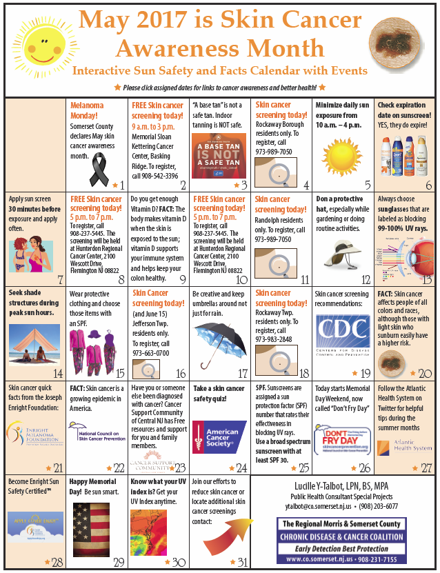 Monthly Calendar Health Awareness : Skin cancer resources somerset county