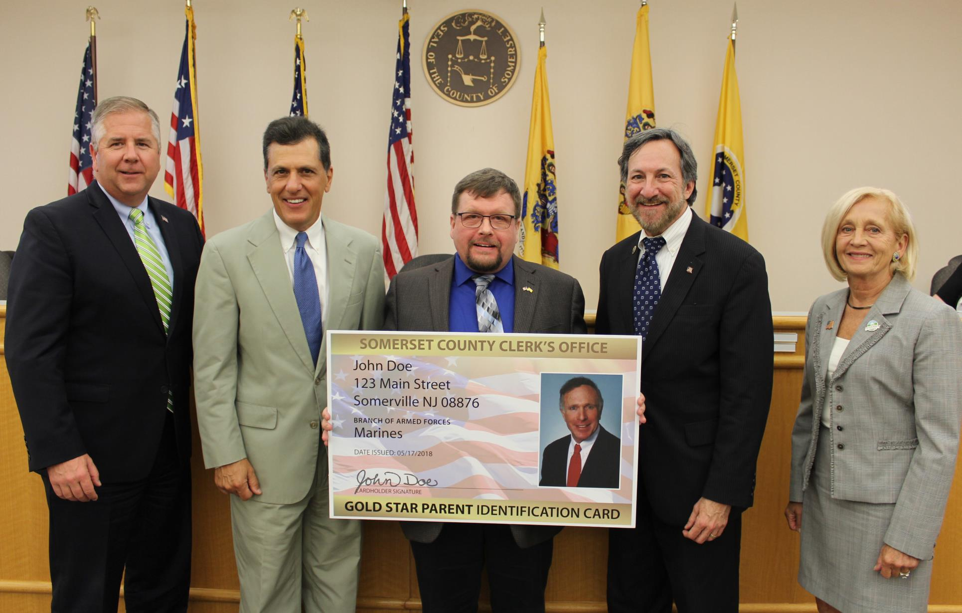 County Clerk & Freeholders Display Gold Star Parent ID Card