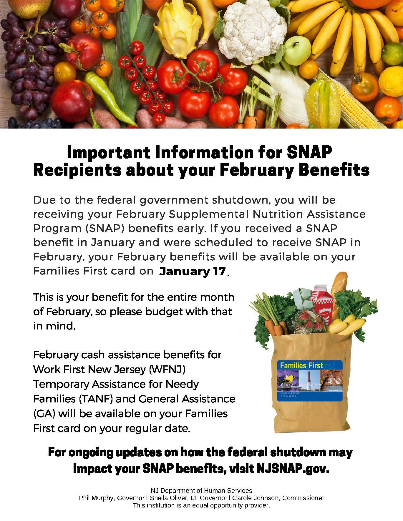 SNAP, Benefits, Update, government shutdown