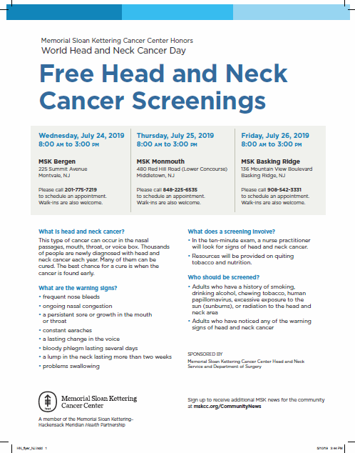 head and neck screenings MSK 2019