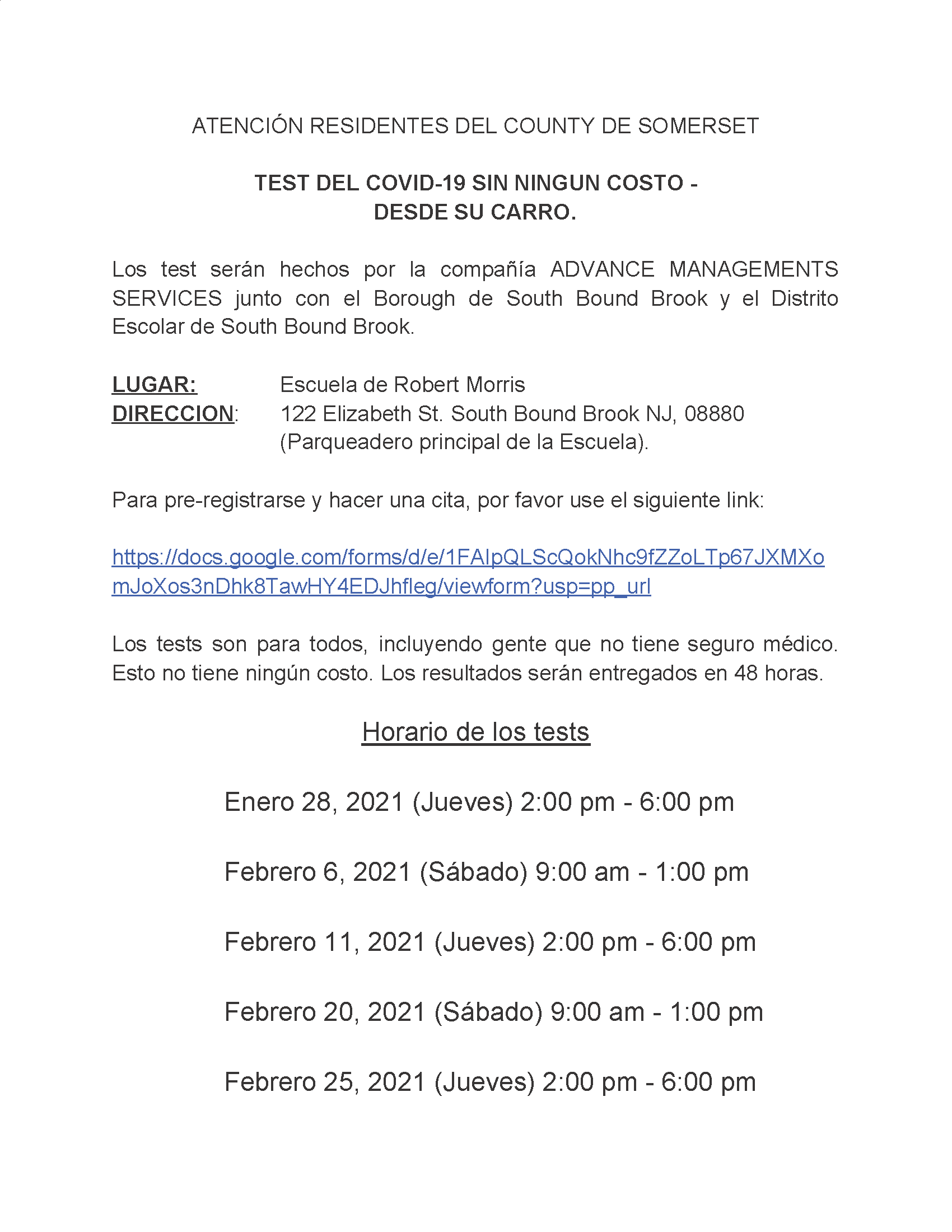 SBB COVID 19 Testing Announcement Spanish PNG