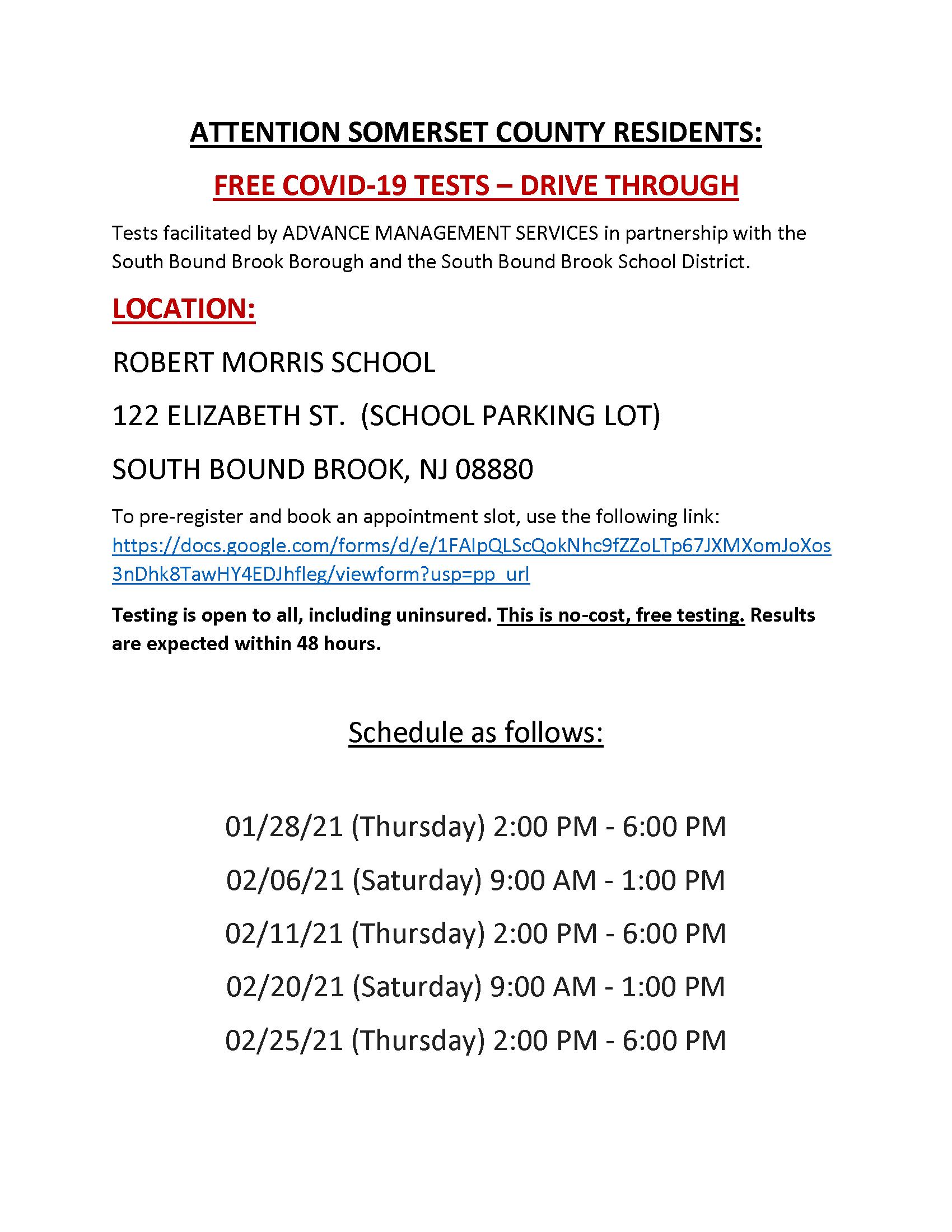 SBB COVID 19 Testing Announcement English PNG